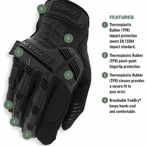 Mechanix Wear M-Pact 3 Covert Tactical Gloves Large, Black Large